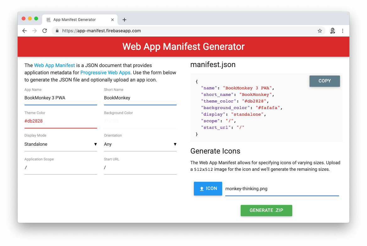 Screenshot Web App Manifest Generator