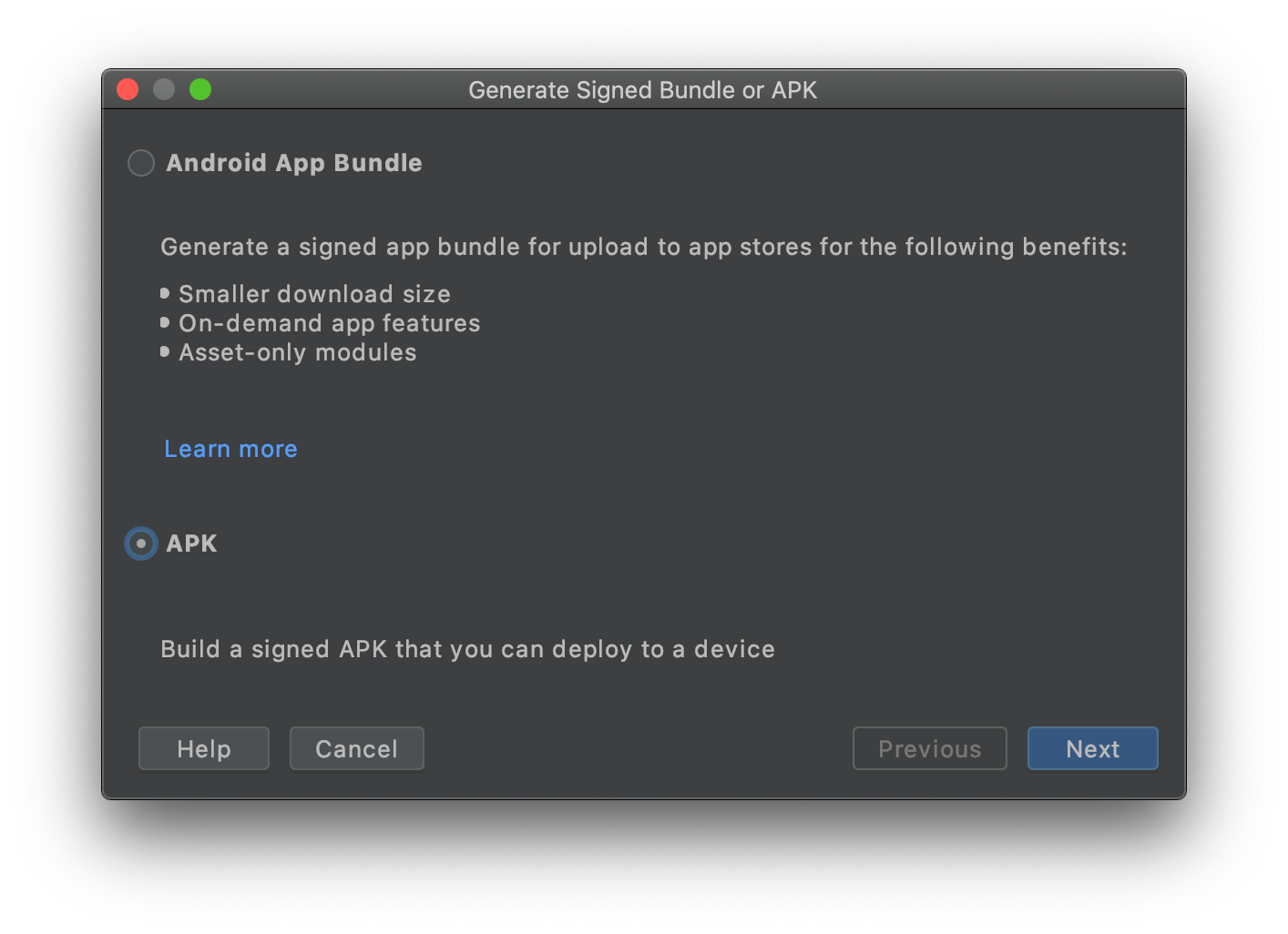 Android Studio: Signierte APK erstellen