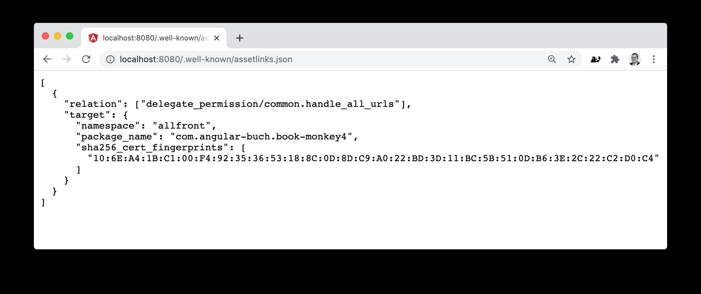 Test der Auslieferung der Datei `assetlinks.json` im Browser