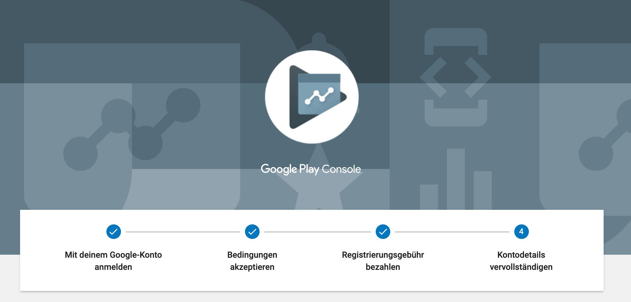 Google Play Console: Registrierung