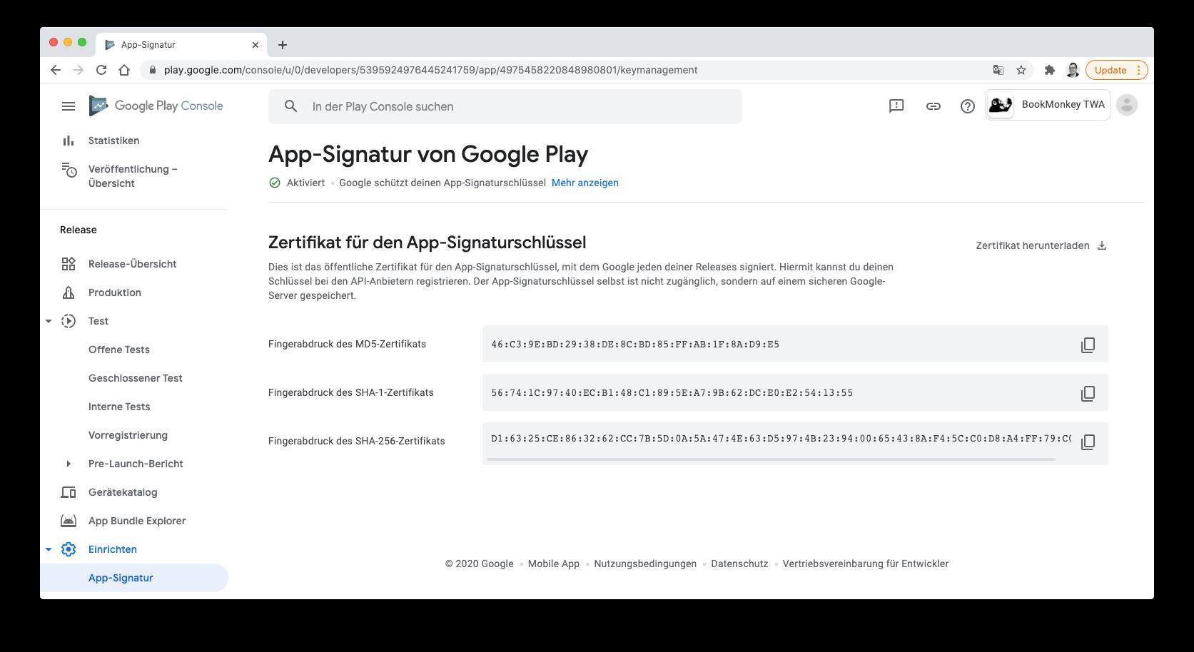 Google Play Console: Kopieren des App-Signaturschlüssels