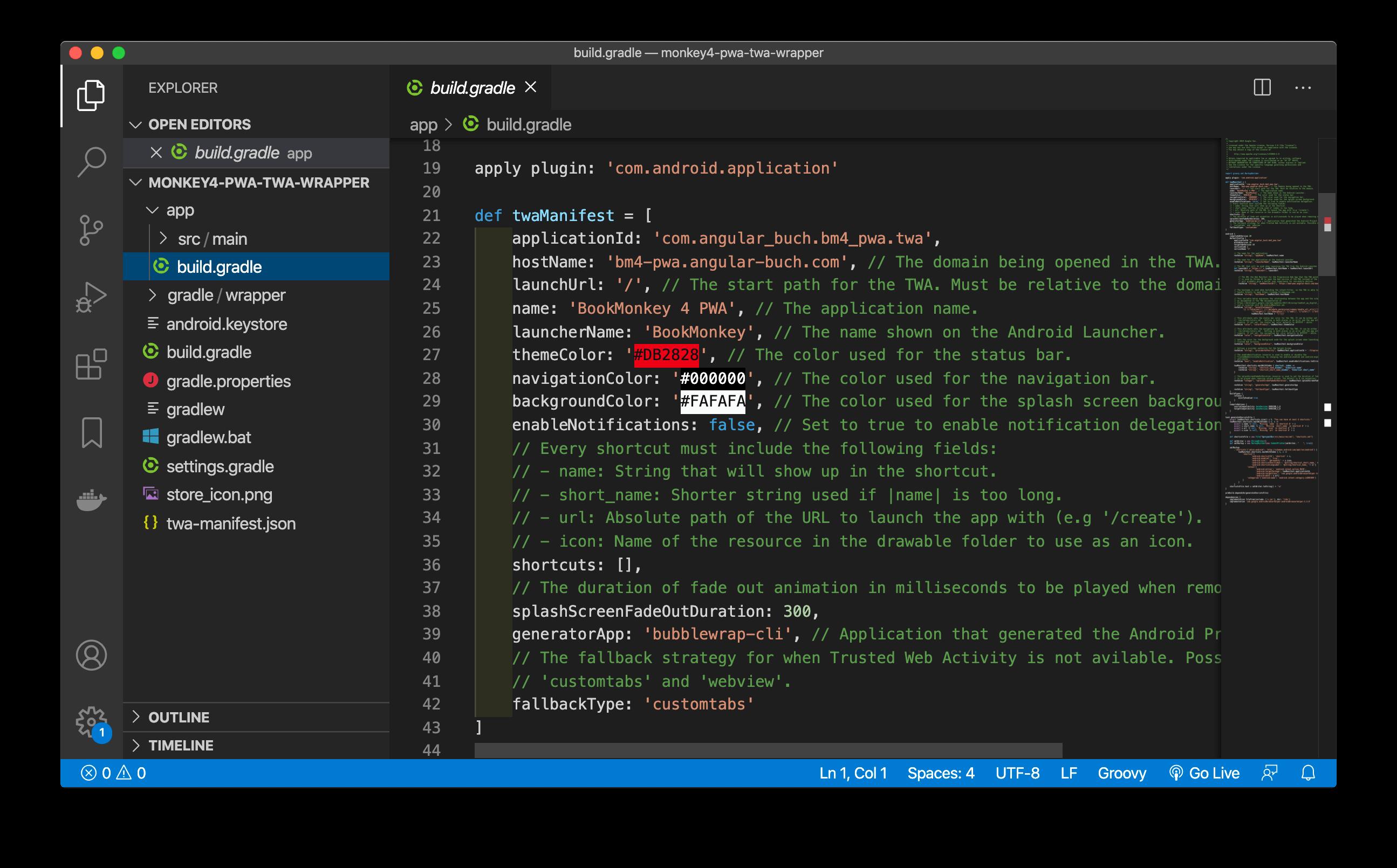 Dateistruktur nach Erzeugung der TWA mithilfe der Bubblewrap CLI